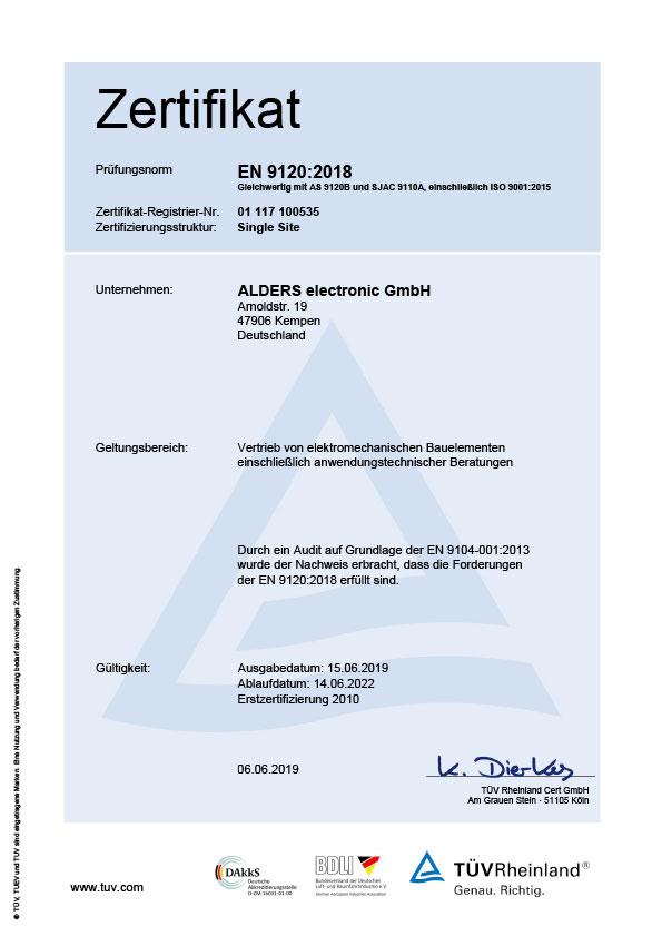 Zertifikat EN9120 - 2018
